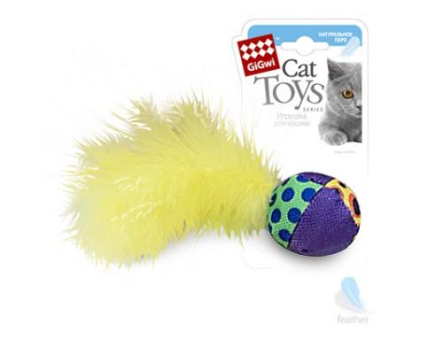 GiGwi Игрушка для кошек Мячик с перьями