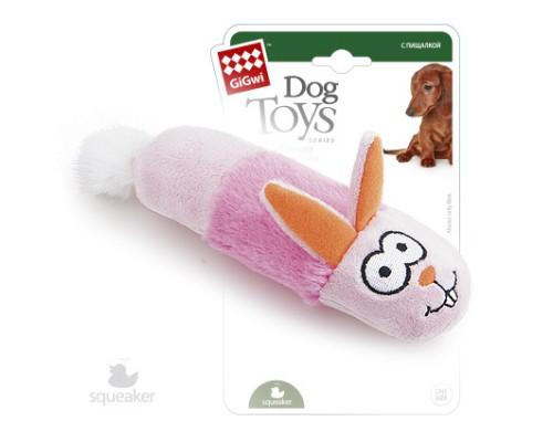 GiGwi Игрушка для собак Зайчик с пищалкой 15 см