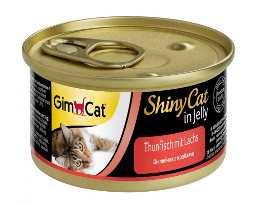 Gimcat Shiny Cat Шани Кэт консервы для кошек Цыпленок с крабами (Джимпет)