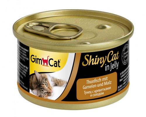 Gimcat Shiny Cat консервы для кошек Тунец, креветки и солодом (Джимпет)