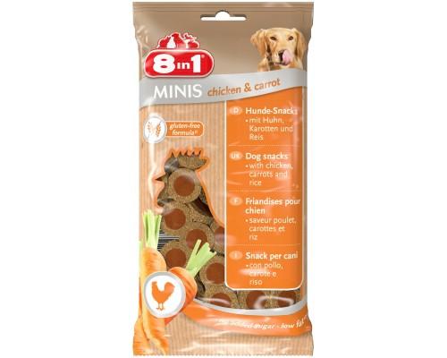 8in1 Лакомство для собак Минис Курица и морковь, с рисом. Вес: 100 г