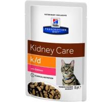 Hills Presсription Diet k/d Feline Tender Chunks in Gravy with Salmon пауч для кошек K/D профилактика заболеваний почек Лосось (Хиллс). Вес: 85 г