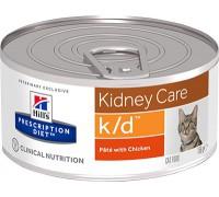 Hills Presсription Diet k/d Feline Фарш с курицей консервы для кошек K/D профилактика заболеваний почек, МКБ (оксалаты, ураты) (Хиллс). Вес: 156 г
