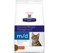Hills Presсription Diet m/d Feline сухой корм для кошек M/D профилактика сахарного диабета, ожирение (Хиллс). Вес: 1,5 кг