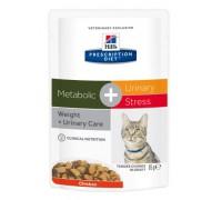 Hills Presсription Diet Metabolic+Urinary Stress диетический корм для взрослых кошек, поддерживает здоровье нижних мочевыводящих путей, в том числе при ИЦК (идиопатическом цистите кошек), вызванном стрессом Пауч (Хиллс). Вес: 85 г