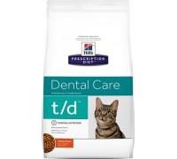 Hills Presсription Diet t/d Feline сухой корм для кошек T/D профилактика заболеваний полости рта (Хиллс). Вес: 1,5 кг