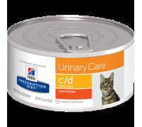 Hills Presсription Diet c/d Multicare Urinary Care диетические консервы для кошек для поддержания здоровья мочевыводящих путей с Курицей (Хиллс). Вес: 156 г