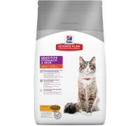 Hills Science Plan Sensitive Stomach & Skin корм для взрослых кошек для здоровья ЖКТ (Хиллс). Вес: 400 г