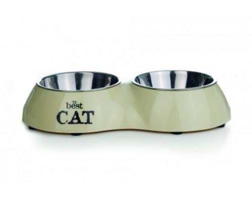 Best Cat Миска 2в1 для кошек двойная бежевая 26,5х15 см. Вес: 26,5х15 см