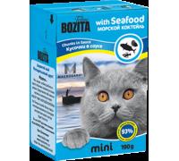 Bozita super premium Mini Кусочки в соусе для кошек - морской коктейль (Seafood). Вес: 190 г