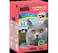 Bozita super premium Mini Кусочки в соусе для кошек - мяcной коктейль (Meat Mix). Вес: 190 г