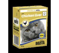 Bozita super premium Кусочки в ЖЕЛЕ для кошек c куриной печенью (with Chicken Liver). Вес: 370 г