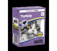 Bozita super premium Кусочки в ЖЕЛЕ для кошек с рубленной индейкой (Minced Turkey). Вес: 370 г