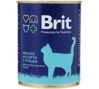 Brit консервы для кастрированных котов Мясное ассорти с птицей. Вес: 340 г