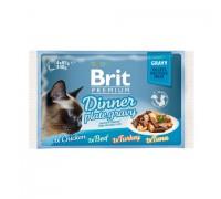 Brit ПРЕМИУМ Набор паучей для кошек Dinner Plate Gravy (Кусочки в соусе) 4x85гр. Вес: 4х85г