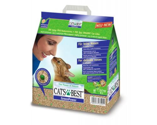 Cat's Best Green Power Древесный комкующийся наполнитель для котят и кошек. Вес: 8 л