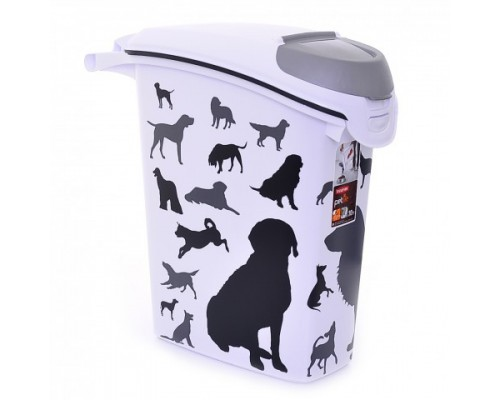 "Curver PetLife Контейнер для корма ""Собаки"", черно-белый, на 10кг/23л, 23x50x50 см"