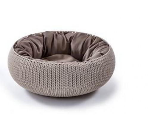 """Curver PetLife Лежак для животных """"Вязанный комфорт"""" с подушкой, D54х20,2 см дымчато-бежевый"""