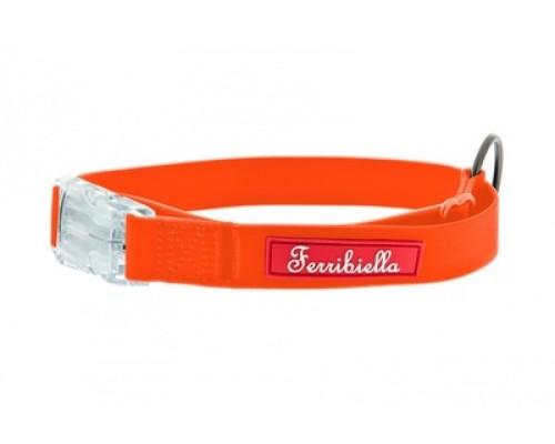 Cветящийся тонкий силиконовый ошейник, оранжевый (COLLARE FUN FLAT ARANCIONE): 30-50 см