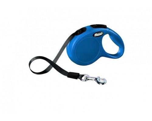 FLEXI Рулетка-ремень для собак до 12кг, 3м, голубая (New Classic XS tape 3m blue) (Флекси)