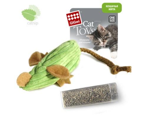 GiGwi Игрушка для кошек Вельветовая мышка с замком на липучке и запасной мятой