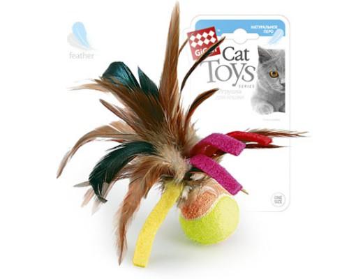 GiGwi Игрушка для кошек Мячик с перьями 6 см