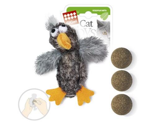 GiGwi Игрушка для кошек Птичка с 3-мя сменными шариками с кошачей мятой