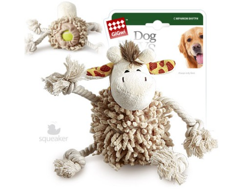 GiGwi Игрушка для собак Жираф с теннисным мячом