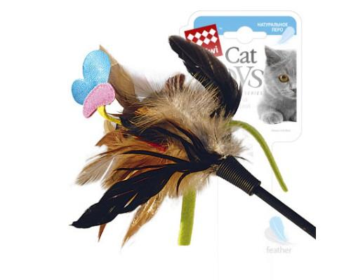 GiGwi Дразнилка для кошек с бабочкой с натуральными некрашеными перьями