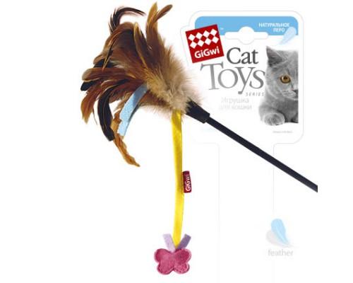GiGwi Дразнилка для кошек со бабочкой, натуральные некрашеные перья