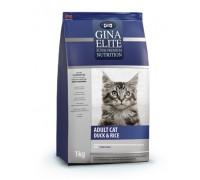 Gina ELITE CAT Корм полнорационный сухой для взрослых кошек Утка с рисом (Джина Adult Cat Duck & Rice). Вес: 1 кг
