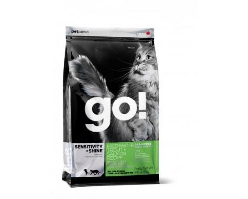 GO! Беззерновой для Котят и Кошек с чувствительным пищеварением: Форель, Лосось (CARNIVORE GF Freshwater Trout + Salmon Recipe for cats). Вес: 1,36 кг