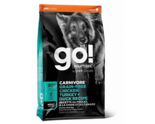 GO! Беззерновой для Взрослых Собак всех пород 4 вида мяса: Индейка, Курица, Лосось, Утка (GO! CARNIVORE GF Chicken,Turkey + Duck Adult Recipe DF). Вес: 1,59 кг