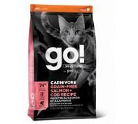 GO! Беззерновой для Котят и Кошек с Лососем и Треской (CARNIVORE GF Salmon + Cod Recipe for Cats). Вес: 1,36 кг