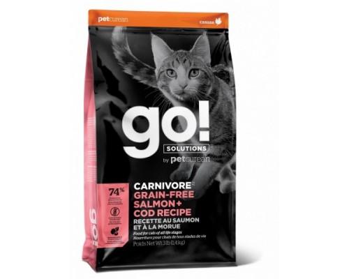 GO! Беззерновой для Котят и Кошек с Лососем и Треской (GO! CARNIVORE GF Salmon + Cod Recipe for Cats). Вес: 1,36 кг