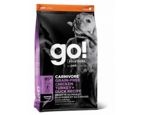 GO! Беззерновой для Пожилых Собак всех пород 4 вида мяса: Индейка, Курица, Лосось, Утка (GO! CARNIVORE GF Chicken,Turkey + Duck Senior Recipe DF). Вес: 1,59 кг
