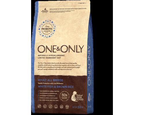 ONE&ONLY сухой корм Белая рыба с рисом для взрослых собак всех пород (White fish & Rice Adult All Breeds). Вес: 1 кг