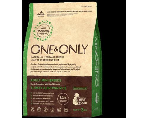ONE&ONLY сухой корм Индейка с рисом для взрослых собак мелких пород (Turkey & Rice Adult MINI Breeds). Вес: 1 кг