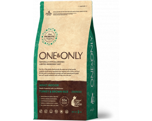ONE&ONLY сухой корм Индейка с рисом для домашних кошек (Turkey & Rice Adult INDOOR). Вес: 400 г