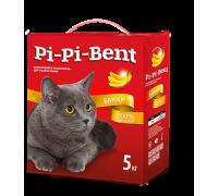 Pi-Pi-Bent Банан натуральный комкующийся наполнитель с легким ароматом спелого банана 5 кг