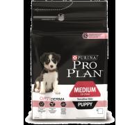 Pro Plan MEDIUM PUPPY SENSITIVE SKIN с комплексом OPTIDERMA для щенков средних пород с чувствительной кожей, с лососем и рисом (Про План). Вес: 1,5 кг