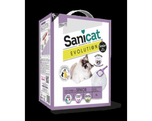 Sanicat Комкующийся антибактериальный наполнитель для пожилых кошек, мощный контроль запаха без пыли (Evolution Senior) 6 л