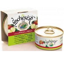 Schesir консервы для кошек Цыпленок/яблоко. Вес: 75 г