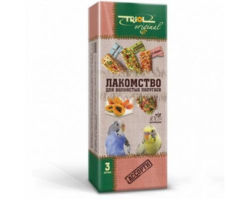 TRIOL Original Лакомство для волнистых попугаев АССОРТИ (с фруктами, с овощами и хитином, с мёдом) (Триол): 3 шт