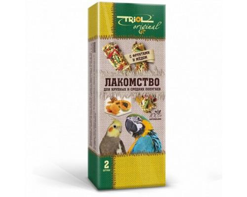 TRIOL Original Лакомство для крупных и средних попугаев с фруктами и мёдом (Триол): 2 шт