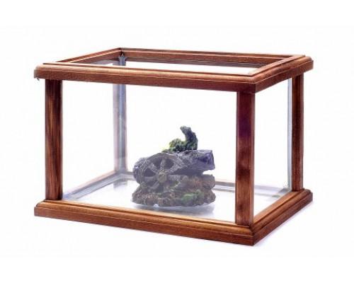 Аквариум в деревянной раме с декором, 32х22х22 см (Aquarium glass + wood + decor small size)