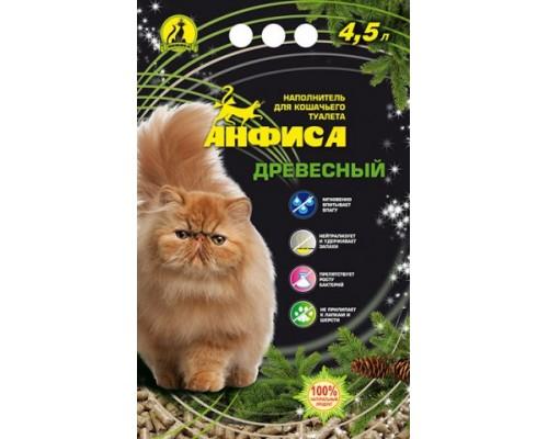 АНФИСА Впитывающий древесный антибактериальный наполнитель для кошачьих туалетов 5 л