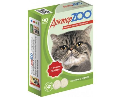 Доктор ZOO витамины для кошек со вкусом Печени 90 таб