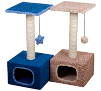 Дом для кошек Зооник малый ковровый велюр Размер: 340мм х 340мм х 750мм
