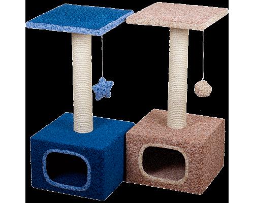 Дом для кошек Зооник малый ковровый велюр 340мм х 340мм х 750мм